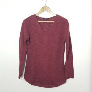 Trendsetter | Maroon V-neck Knit Sweater Top Small